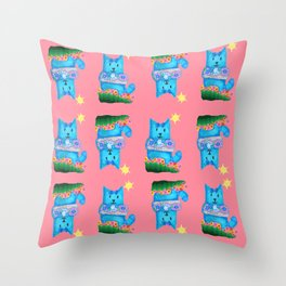 Siena- Pushing- Kitty in a Donut Throw Pillow
