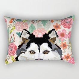 Husky floral pet portrait art print and dog gifts Rectangular Pillow