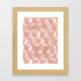 PINK CHAMPAGNE GRADIENT CUBE PATTERN (Gold Lined) Framed Art Print