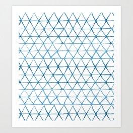 Indigo Geo Triangle Pattern Art Print