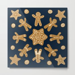 Gingerbread Christmas Snowflake Metal Print