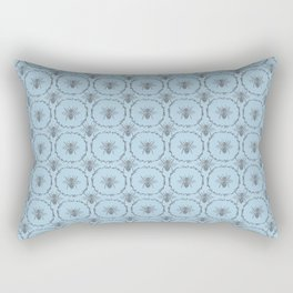 Vintage Shabby Chic Bees in Laurel Wreaths in Delft China Blue and Baby Blue Rectangular Pillow