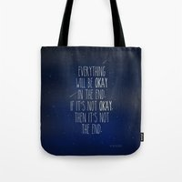 fault Tote Bags featuring The Fault In Our Stars by Adel