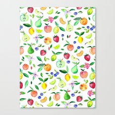 Fresh Fruit - a watercolor pattern Canvas Print