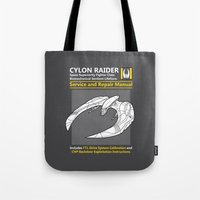 battlestar Tote Bags featuring Cylon Raider Service and Repair Manual by adho1982