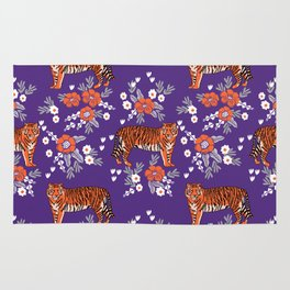 Tiger Clemson purple and orange florals university fan variety college football Rug