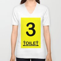 toilet V-neck T-shirts featuring TOILET CLUB #3 by Toilet Club