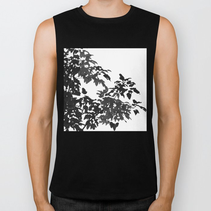 Leaves Silhouette - Black & White Biker Tank