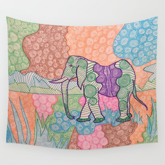 Elephant Walk Wall Tapestry