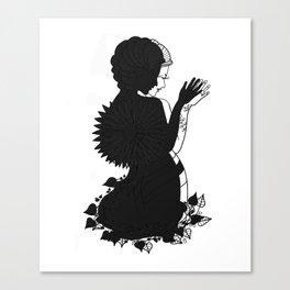Lady Flower Black & White Siluette Canvas Print