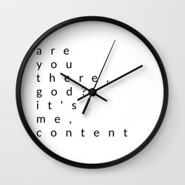 are you there, god? it's me, content Wall Clock