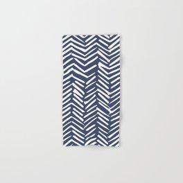 Boho Herringbone Pattern, Navy Blue and White Hand & Bath Towel