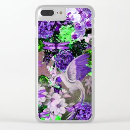 PARROTS Magnolias Hydrangeas Tropical Flower Pattern Clear iPhone Case