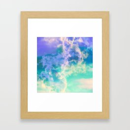 Mountain Meadow Painted Clouds Framed Art Print