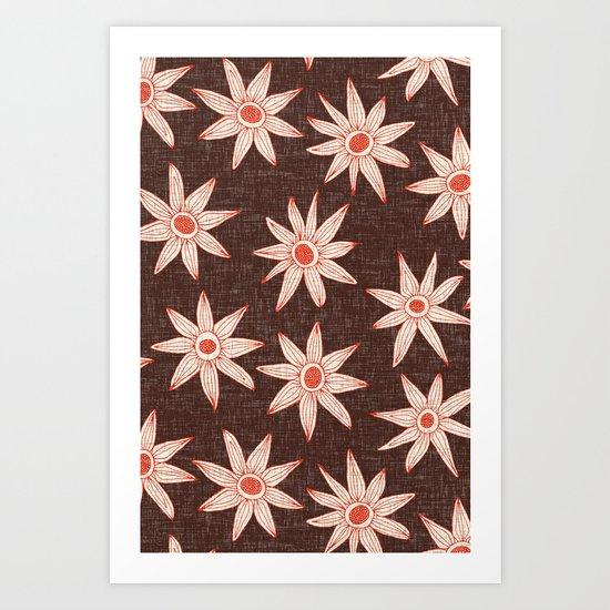 sema brown fire orange Art Print