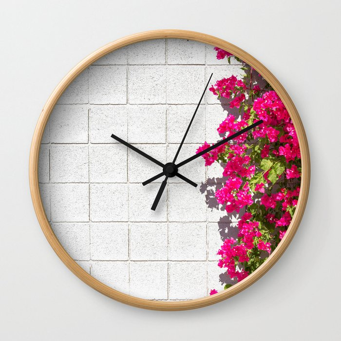 Bougainvilleas and White Brick Wall in Palm Springs, California Wall Clock
