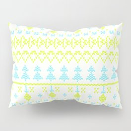 3 Knitted Christmas pattern in retro style pattern Pillow Sham