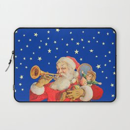 Santa Claus & Christmas Stars on the Night Sky Laptop Sleeve