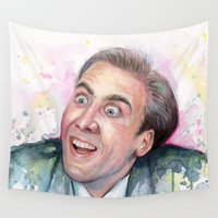 nicolas cage Wall Tapestries featuring Nicolas Cage You Don't Say by Olechka