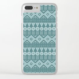 Mudcloth Style 2 in Teals Clear iPhone Case