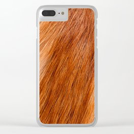 Red fox hairy fur texture cloth Clear iPhone Case