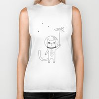 space cat Biker Tanks featuring Space Cat by PENARULIT