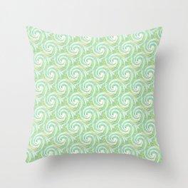 Bright Green Blue Curls Pattern Throw Pillow