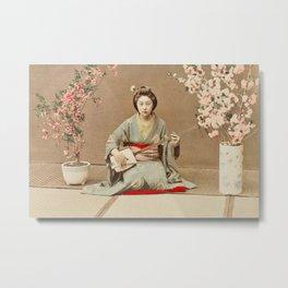 Ogawa Kazumasa - Geisha Playing Samisen Metal Print