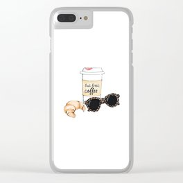 Coffee and croissant Clear iPhone Case