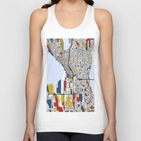seattle Tank Tops featuring Seattle by Mondrian Maps