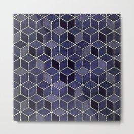 Shades Of Purple Cubes Pattern Metal Print