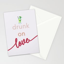 Drunk on Love - Fun Typography - Feminine Watercolour Stationery Cards