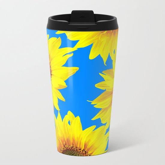 Sunny Sunflowers with blue sky - summer mood - #Society6 #buyart Metal Travel Mug