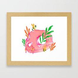 Pink Animal Skull and Foliage Framed Art Print