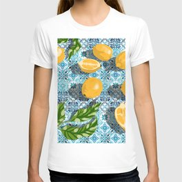 Sweet Morocco, Tropical Lemon Tiles Painting, Eclectic Summer Modern Bohemian Exotic Illustration T-shirt