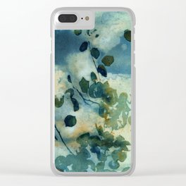 Abstract Shadows Cyanotype Clear iPhone Case