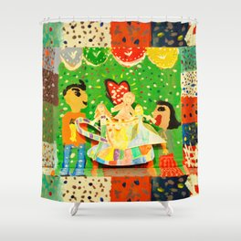 The cup of Rosalia | Full of fairy tales | Painting by Elisavet Shower Curtain