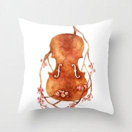 Sakura Violin Throw Pillow