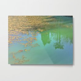 Dreamy Other World - fallen leaves and reflection of trees photo Metal Print