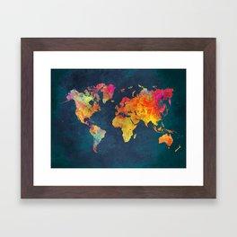 World Map blue #world #map Framed Art Print