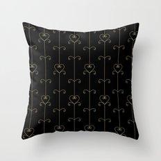 Tan & Black hearts Throw Pillow