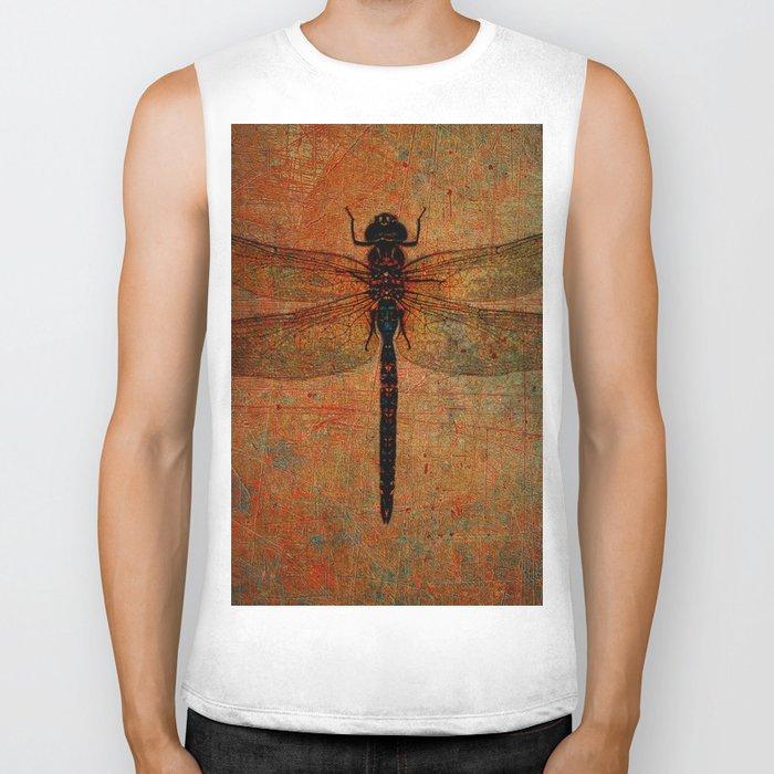 Dragonfly On Orange and Green Background Biker Tank