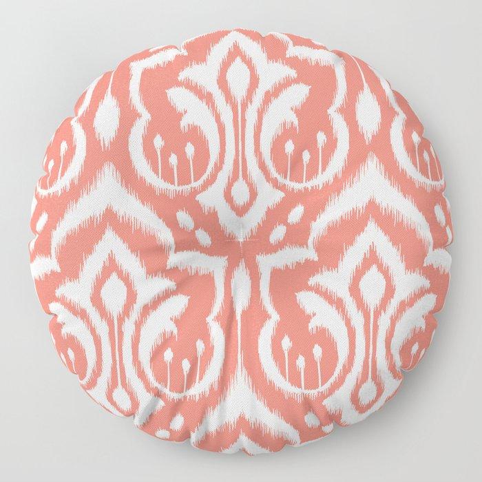 Ikat Damask Coral Floor Pillow
