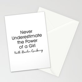 Never Underestimate the Power of a Girl RBG Stationery Cards