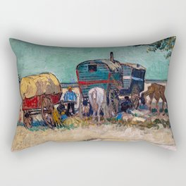 Vincent Van Gogh - Caravans, Gypsy Camp near Arles Rectangular Pillow