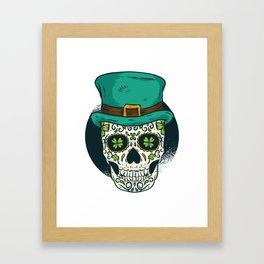 St. Patrick's Day Skull Day of The Dead Drinking Framed Art Print