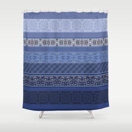 Blue striped patchwork Shower Curtain