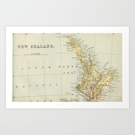 Vintage Map of New Zealand Art Print