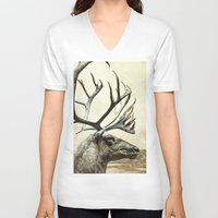 reindeer V-neck T-shirts featuring Reindeer by BlueMoonArt