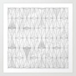 Metallic White Triangles on white Marble Art Print
